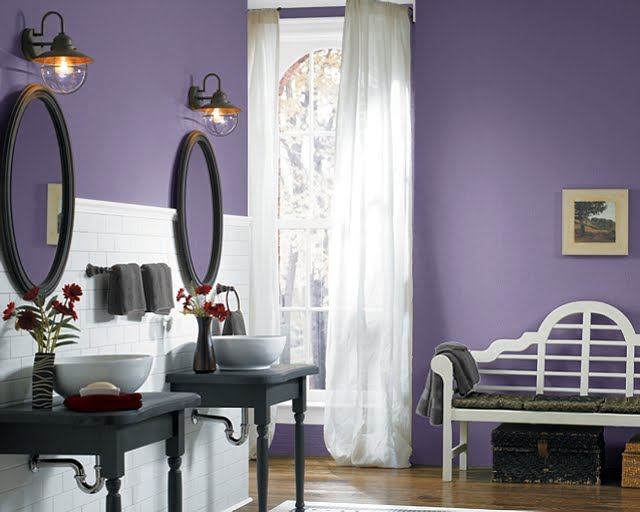Outsized Your Space With These Inspiring Wall Colors For Small Rooms: Purple Passage Wall Color