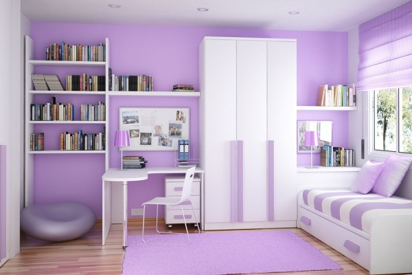 Storage Ideas For Small Bedrooms Efficient Way To Store The Things : Purple Smart Kids Room Design With Space Saving Ideas Sergi Mengot Space Saving Ideas