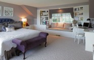 Various Fascinating Bedroom Benches: 35 Design Ideas : Purple Sofa Styled Bench In The Kids Bedroom Adds A Regal Touch To The White Interiors