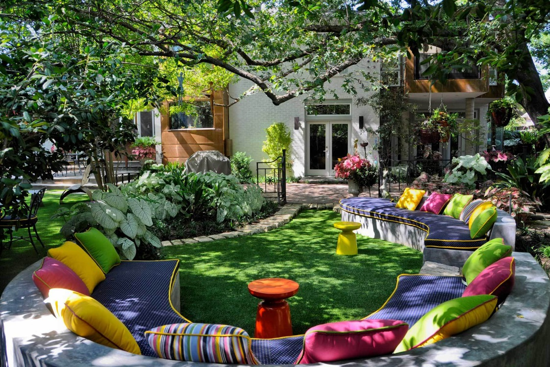 Gorgeous Outdoor Living Space With The Creative Design: Rainbow Pillow Outdoor Living Space