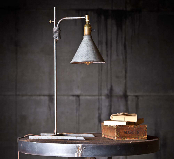 Creative DIY Lamp Design From Second Hand Items: Reading Lamp Made From Distressed Funnels