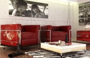 Casual Modern Living Rooms With Contemporary Minimalist Appearance : Red Black White Contemporary Living Room