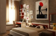 Smart And Playful Bedroom Style For Your Room : Red Brown White Bedroom Layout