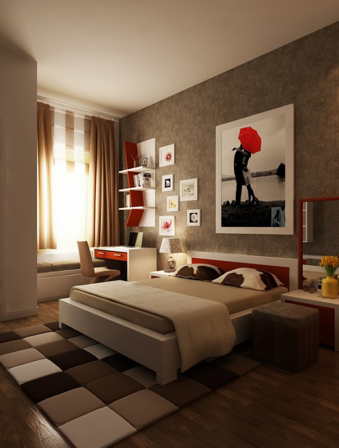 Smart And Playful Bedroom Style For Your Room: Red Brown White Bedroom Layout