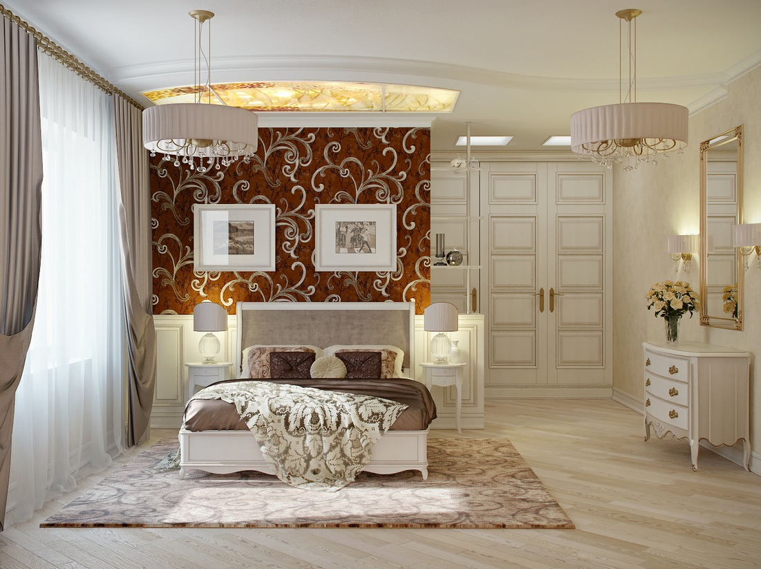 Traditional Elegant Bedroom: Classic And Dramatic: Red Cream Bedroom Decor