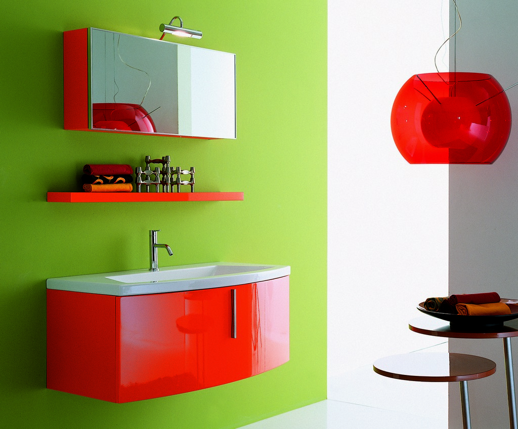Bathroom Cabinet Ideas Creative Designs: Red Paint Color For Bathroom Cabinet Ideas