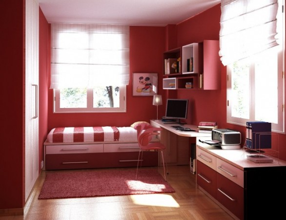 Make Large Your Room With Fresh Paint Colors For Small Bedrooms : Red Paint Colors For Small Bedrooms Combined Bookshelves Computer Desk And Chair