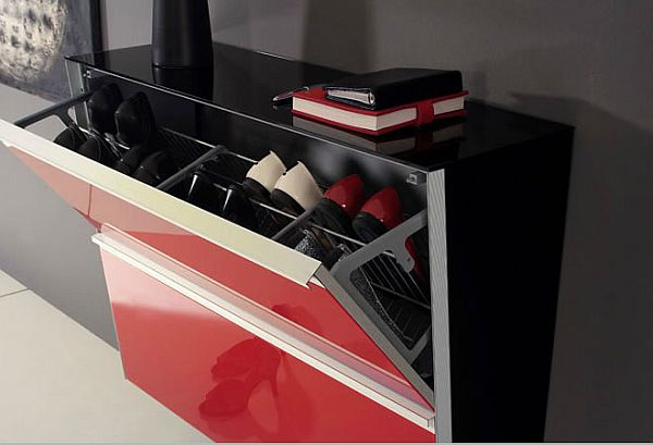 Fashionable Cabinet Designs For Your Shoe Collection : Red Stylish Shoe Cabinet
