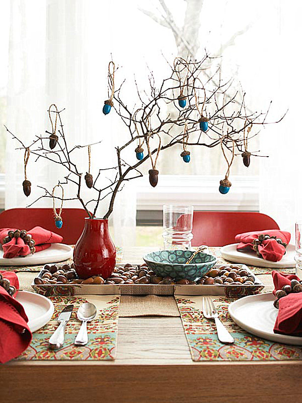 Buffet Table Decorating Ideas For Special Occasion: Red Vase Red Napkin Silver Spoon White Plate