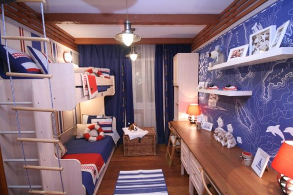 Amazing American Bedroom Design Comes With The Red, White And Blue Colors: Red White And Blue Can Be Easily Transformed Into A Nautical Theme When Needed