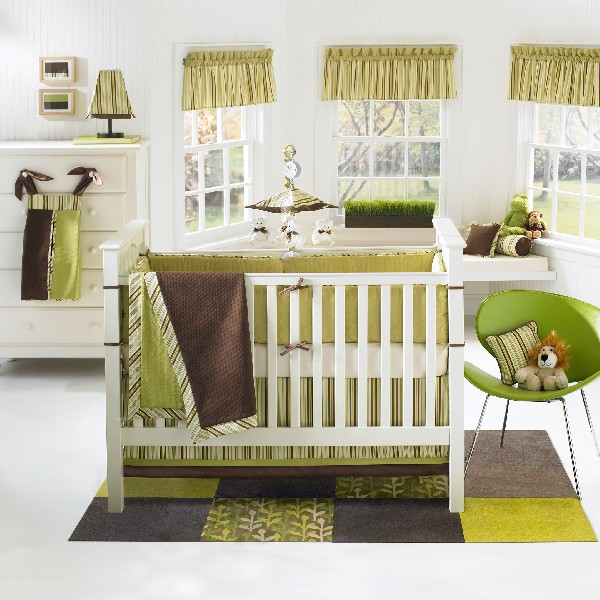 Colorful Baby Boy Nursery Interior Design : Refreshing Green Banana Fish Moda Baby Crib Bedding Set