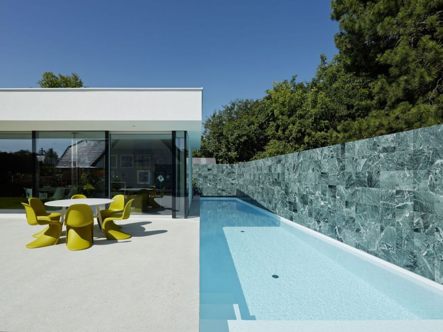 Contemporary Home Design: The A&B House In Austria: Refreshing Pool With Large Deck Space