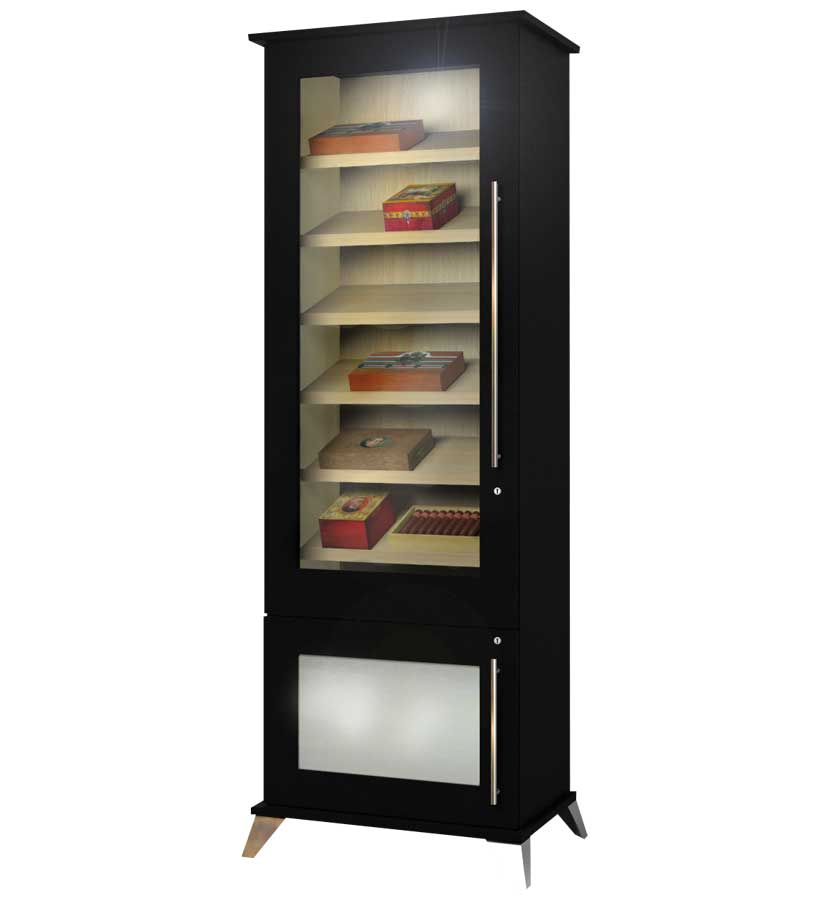 Unique Wine Humidor From Wooden Material : Reliance Display Cigars Classic Black Wine Humidor Design