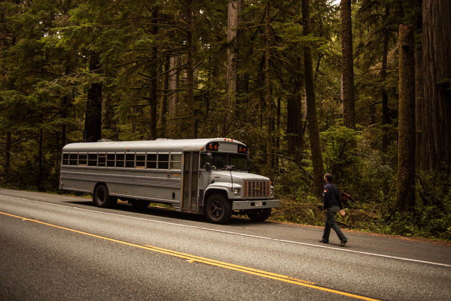 Gorgeous Ideas To Renovate Your Mobile Home : Restored Bus Mobile Home Parked Next To The Highway