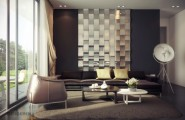Fascinating Interior Design With Blends Of Monochrome Colors And Natural Elements : Rich Living Room Mirrored Feature Wall Enduring Inspiration From Vic Nguyen