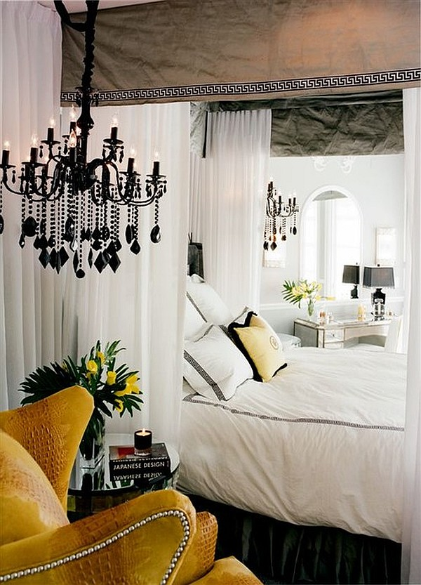 The Italian Chandelier As Your Aesthetic Light: Romantic Bedroom With Grey Silk Canopy