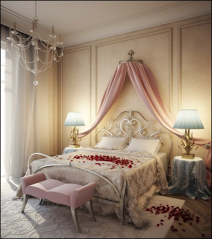 Chic Bedroom Ideas: Feature Walls For Decoration : Romantic Pink Blue Cream Bedroom Design
