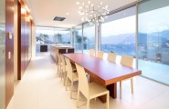 Amazing Luxury Home Ideas For Stunning Look In White Theme : Romantic Yet Stylish Dining Room Interior Project Of Cool House Lombardo With Firework Lamp