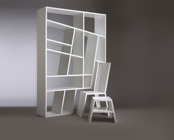 Bookshelf Design For Modern Interior Design: Room Divider Abstract Bookshelf White Color Chair White Table