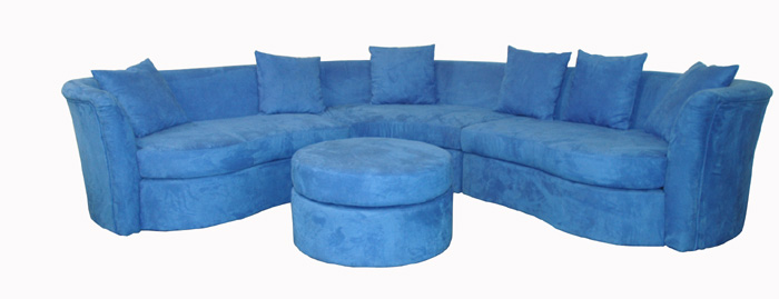 Blue Sofas: Unique And Enlightening Furniture: Rounded Sofas Blue Cushion Small Table Armrest
