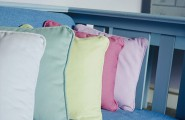 Artistic Pastel Color Palette Decoration : Row Of Pastel Pillows