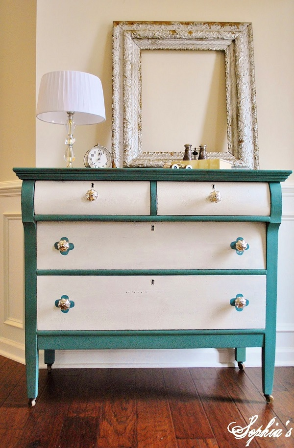 Colorful Bedroom Dressers With Bright Color Concept: Rustic Turquoise And White Dresser DIY On Darkwood Floor1