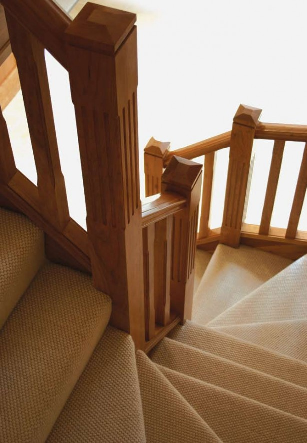 Classy Winder Staircase Design Represents With Rustic Looks: Rustic Wood Railing Fascinating Winder Staircase Design Warm Stair Steps ~ stevenwardhair.com Stairs Inspiration