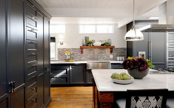 Charming Kitchen Cabinetry Make Alluring Kitchen Atmosphere: Sask Cres Kitchen With Black Cabinetry