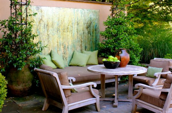 Garden Art Design Inspirations: 37 Astounding Ideas : Seating Area In Colors That Blend Well With Green Makes For A Useful Art Installation
