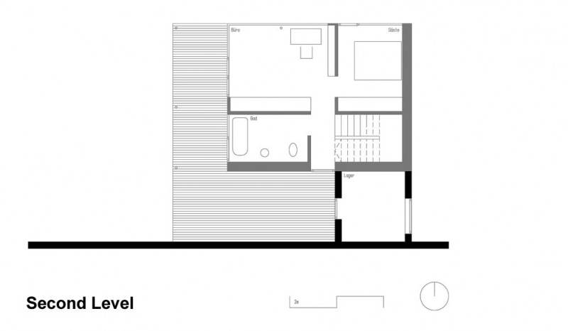 Extraordinary Minimalist Wood House Around Natural Environment : Second Level Wooden Home Layout Plan