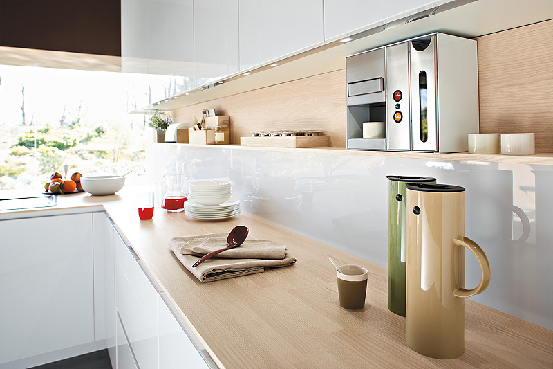Functional Contemporary Kitchen For Storage Solution : Sensational Kitchen Countertop In Beautiful Natural Oak Combined With White Kitchen Cabinet Furniture