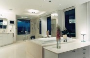 Cool Bathroom Decorating For Cozy Look : Sensational Modern Luxury Bathroom With Colorful Details With White Color Style