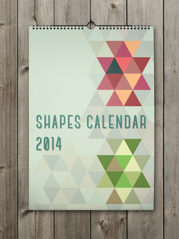 Unique Calendar Shape Designs With Colorful Ideas For 2014: Sensational Shapes Calendar For The New Year With Many Colors And Shapes