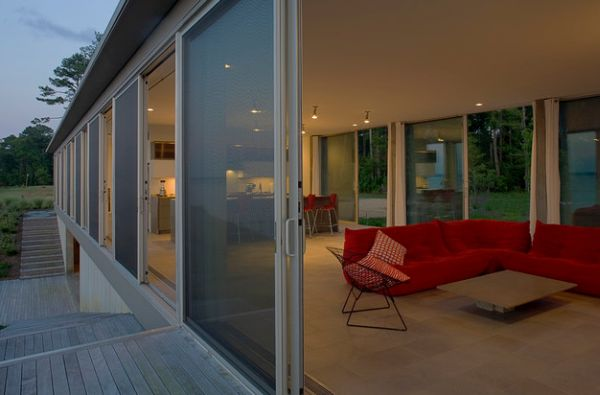 Stylish Sliding Glass Door Designs: 40 Modern Images : Series Of Sliding Glass Doors Offer Ample Ventilation When Needed