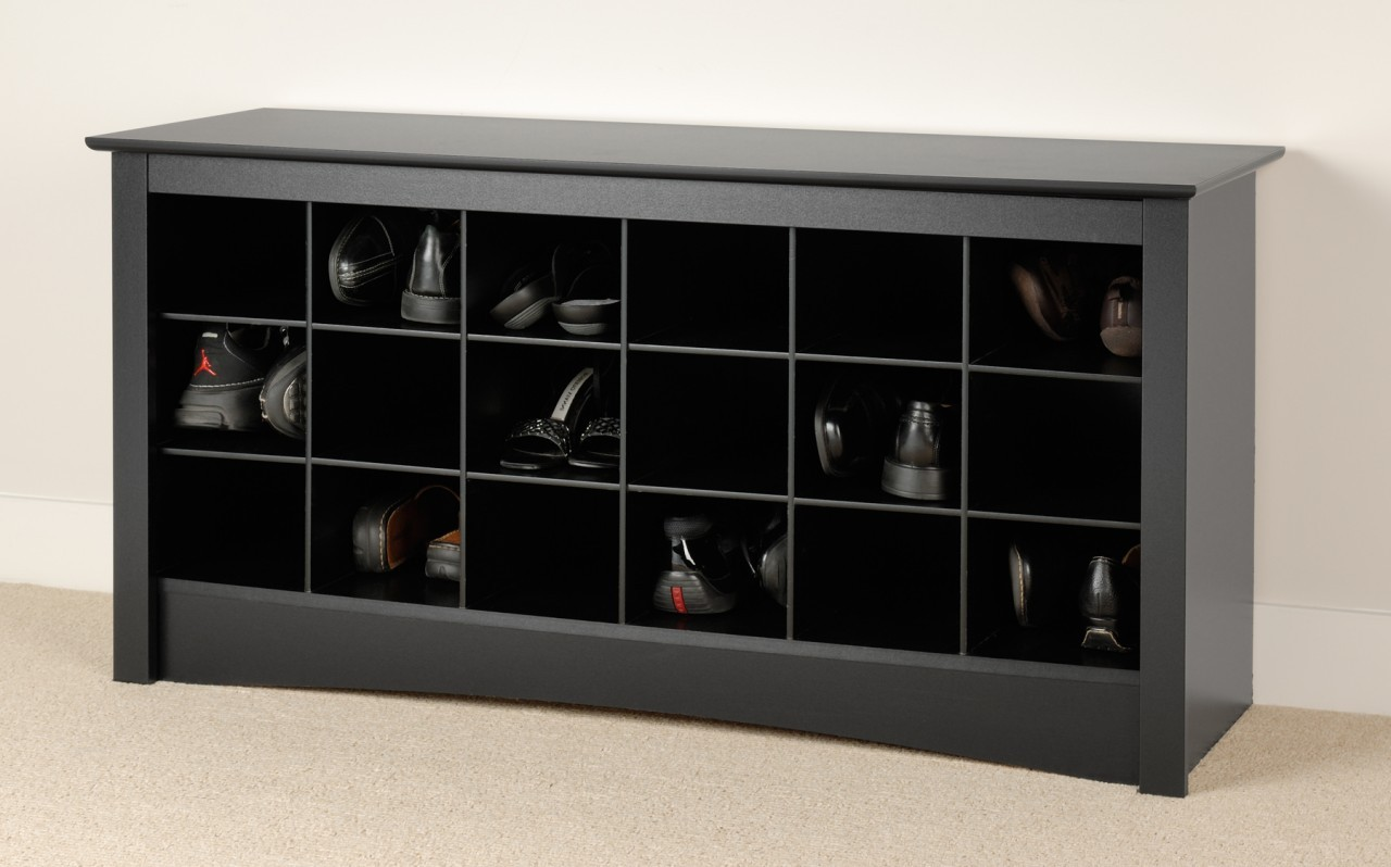 Cubby Bench, Doubled The Function : Shoe Storage Cubby Bench In Black