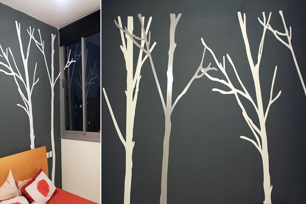 Wonderful Yet Easy Wall Decoration Ideas For Stunning Home Interior: Silver And White Tree Decal ~ stevenwardhair.com Design & Decorating Inspiration