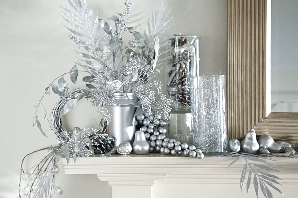 Amazing Fireplace Mantels For Your Best Christmas Ever : Silver Is Another Great Choice For Those Looking Beyond Red And Green