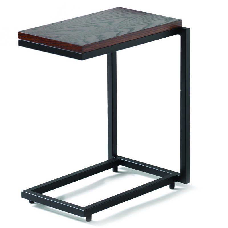 Luxurious C Table From IKEA: Simple C Table Design Wooden Top Black Iron Chassis