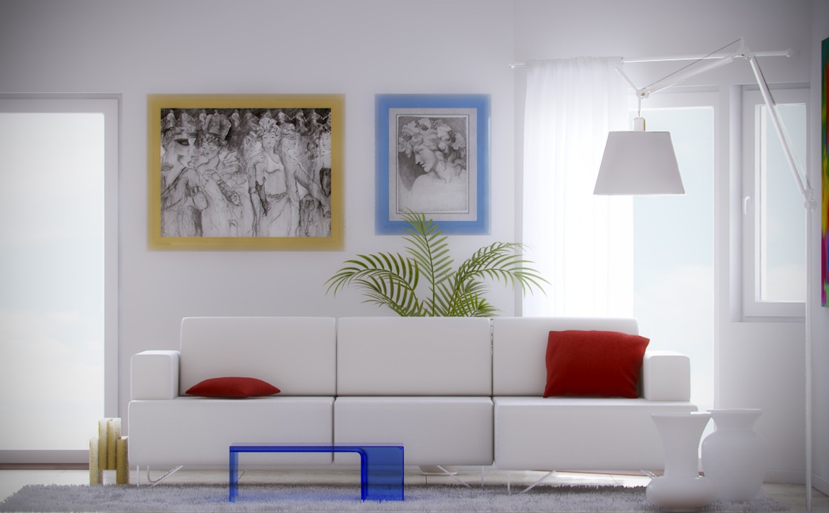 Mesmerizing Ideas For Minimalist Home Design: Simple Clean White Red Blue Living Design