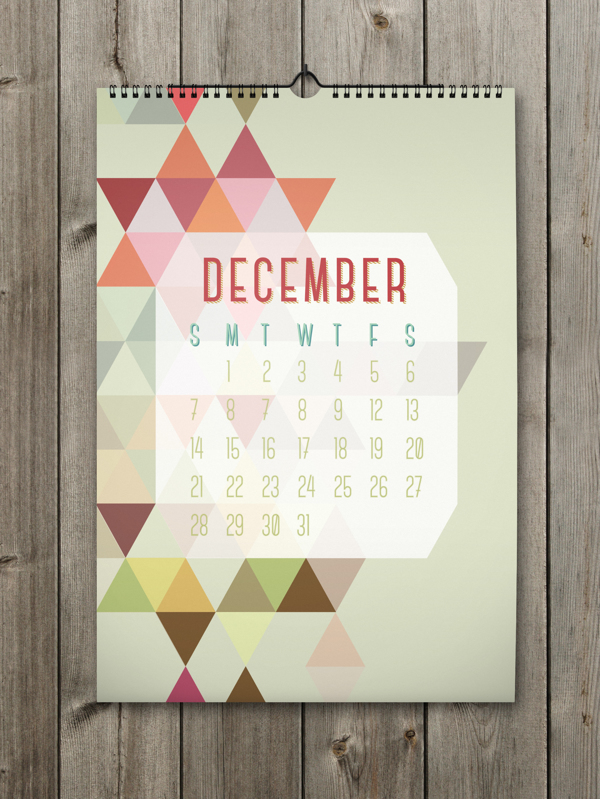 Unique Calendar Shape Designs With Colorful Ideas For 2014 : Simple Grey Background For The December Calendar With Some Colorful Triangle Shapes