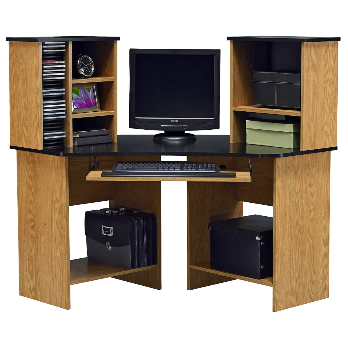 Sophisticated Cabinet Computer Cd Rack Provides Ideal Space For Device : Simple Minimalist Cabinet Computer Cd Rack Design Black Bag And Box