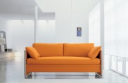 Orange Sofa As Cheerful Furniture : Simple Modern Orange Sofa Chrome Accents Clean White Interior
