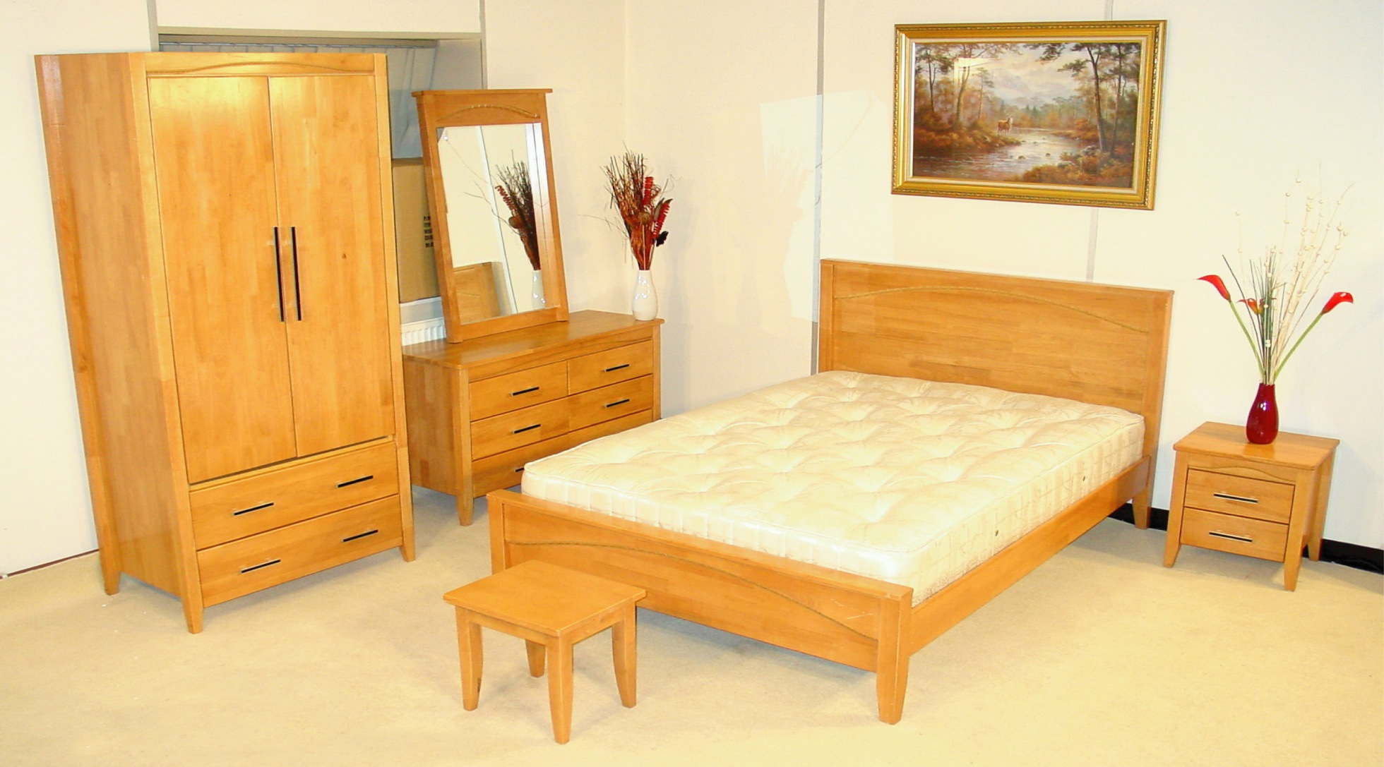 Inspirational Pine Bedroom Furniture Arouse Rustic And Natural View: Simple Pine Bedroom Furniture Leaning Mirror Single Bed