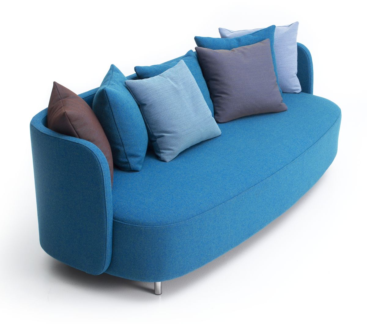 Blue Sofas: Unique And Enlightening Furniture : Simple Sofas Colored Cushion Steel Legs Low Armrest