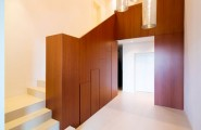 Amazing Luxury Home Ideas For Stunning Look In White Theme : Simple Staircase Project Of Elegant House Lombardo With Built In Wall Wooden Unit For Staircase Handle