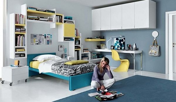 Fantastic Teen Rooms Designs Teenagers Will Love: Simple Teenagers Room Blue Yellow And White Furniture