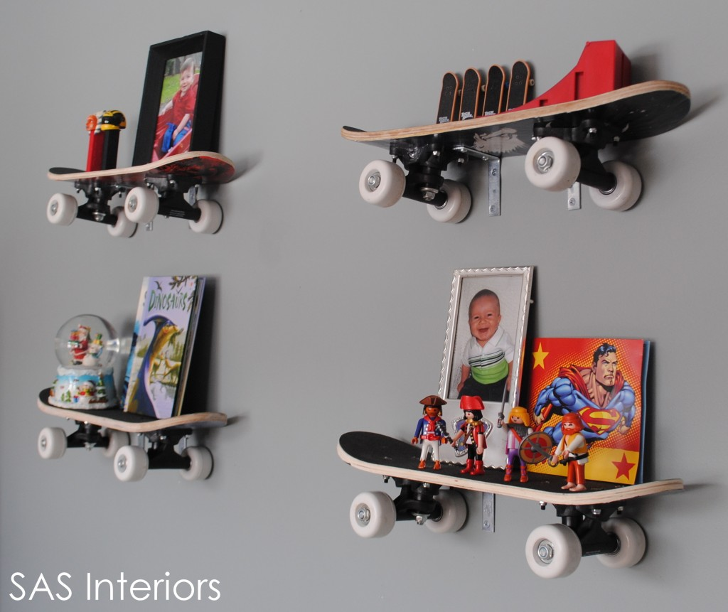 Unique Shelving Design With The Interesting Decoration : Skateboard Shelves Are A Great Way To Add Unique Shelving