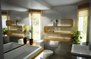 Cool Interior Lighting Design To Glow Up Your Home Interior In Style : Sleek Contemporary Bathroom Decoration With Fancy Lights Fixtures