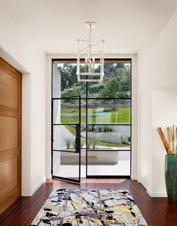 Amazing Entrance Design Ideas For Every Home Design: Sleek Contemporary Entry Design With Framed Glass Door And Window