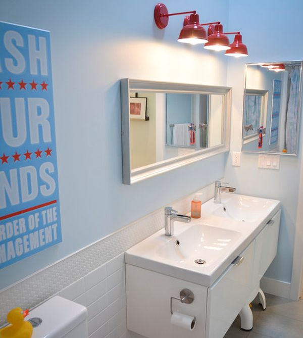Kids Bathroom Design With Fun Ideas: Sleek Modern Kids Bathroom With Interesting Lighting Choice
